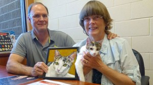 Lennox in her new home with her new parents, Val and Donn Martinson.